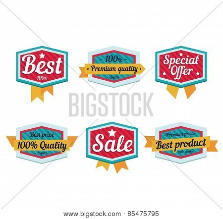 Emblem sale, discount super offer, favorable price, high quality sign and tape. Flat style