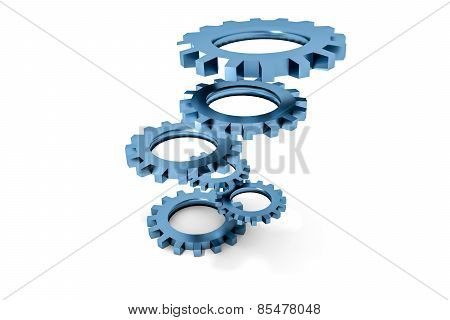 Tower Of Blue Colored Metallic Cogwheels Hovering