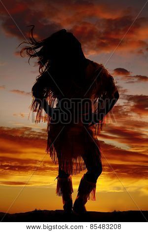 Silhouette Of Native American Woman Front Hair Blowing