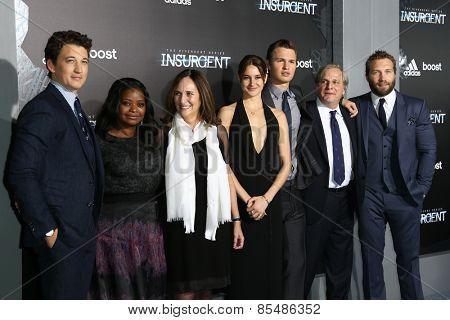 NEW YORK-MAR 16:Miles Teller, Octavia Spencer, Lucy Fisher, Shailene Woodley, Ansel Elgort, Douglas Wick & Jai Courtney at