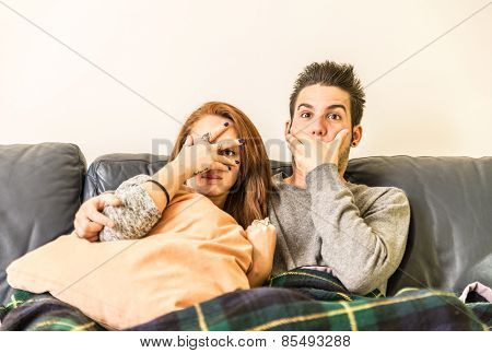 Couple Of Lovers Watching Tv