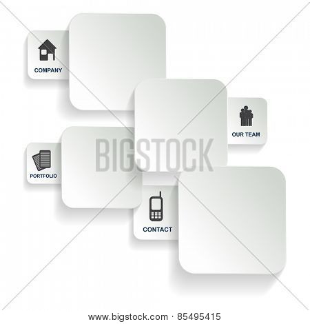 White background with four tabs of the company for the introduction of the company
