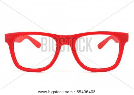 a pair of red plastic-rimmed eyeglasses on a white background