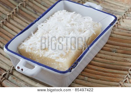 Brazilian Sweet Couscous (cuscuz Doce) With Coconut Ion Plate