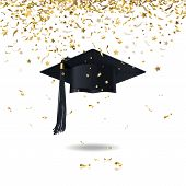 graduate cap and golden confetti on a white background poster