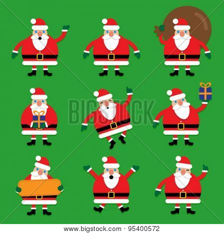Set of Multi Pose Santa Claus