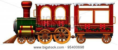 3D Christmas Train locomotive and coach
