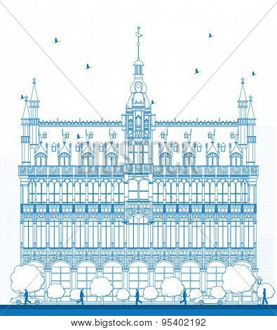 Outline Building Maison du Roi (King's House, 1887) on Grand Place square (Grote Markt). Brussels, Belgium. Now this building houses Museum of the City of Brussels (Museum van de Stad Brussel) poster