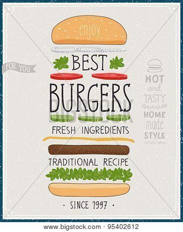Vintage Burgers Poster. Vector illustration.