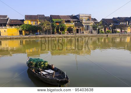 Hoai river in ancient Hoian town