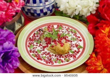 Chile Nogada Mexican Dish Shallow Focus