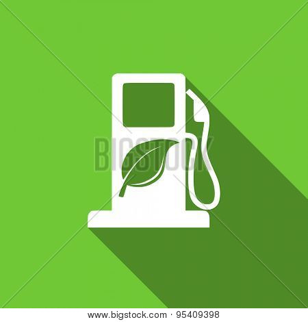 biofuel flat icon bio fuel sign original modern design green flat icon for web and mobile app with long shadow