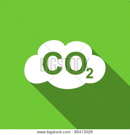 carbon dioxide flat icon co2 sign original modern design green flat icon for web and mobile app with long shadow
