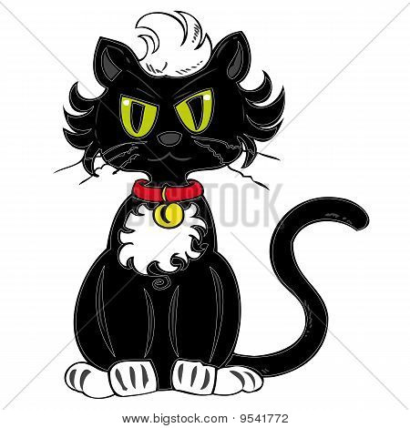 Illustration of a funny black cat with a red collar bell. poster