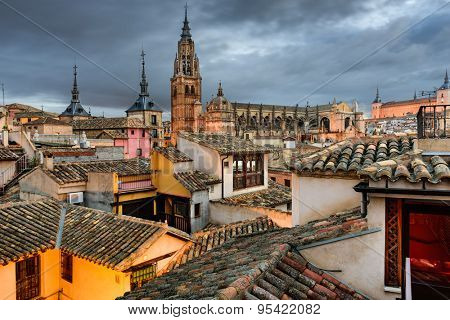 Toledo, Spain view of the town from a rooftop.