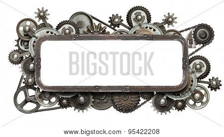 Stylized mechanical collage with isolated copy space. Made of metal gears and textures.