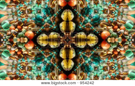 poster of native american style abstract cross background made from beads