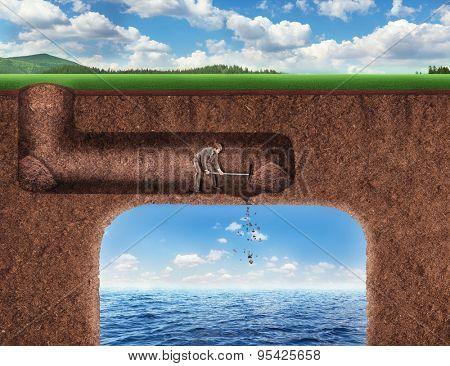 Businessman digs a tunnel