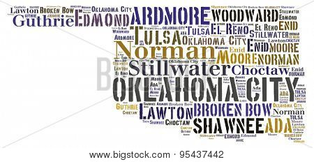 Word Cloud in the shape of Oklahoma showing some of the cities in the state