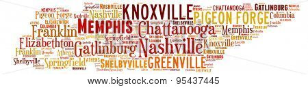Word Cloud in the shape of Tennessee showing some of the cities in the state