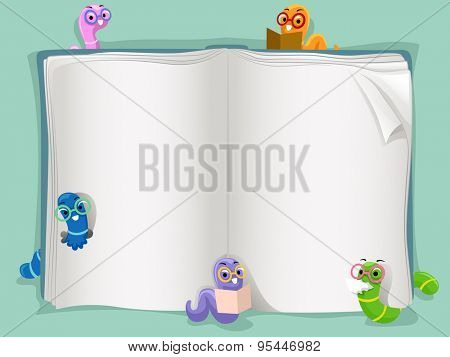 Background Illustration of an Open Book Surrounded by Worms