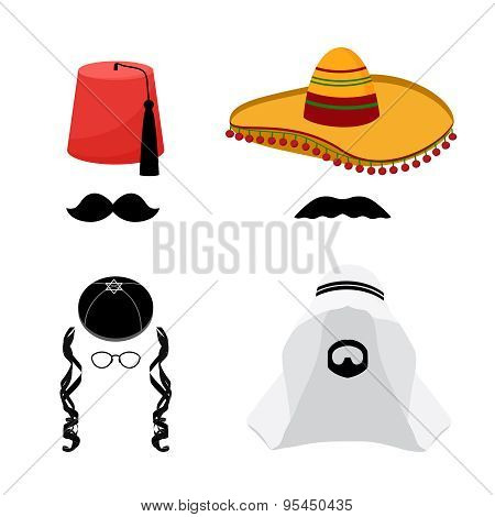 Turkish, mexican, arabic and jewish hats