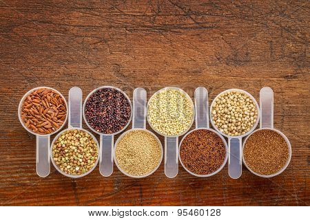 gluten free grains (quinoa, brown rice, kaniwa, amaranth, sorghum, millet, buckwheat, teff) - a row of measuring scoops on a rustic wood with a copy space poster