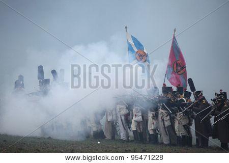 TVAROZNA, CZECH REPUBLIC â?? DECEMBER 3, 2011: Re-enactors uniformed as Russian soldiers attend the re-enactment of the Battle of Austerlitz (1805) near Tvarozna, Czech Republic.