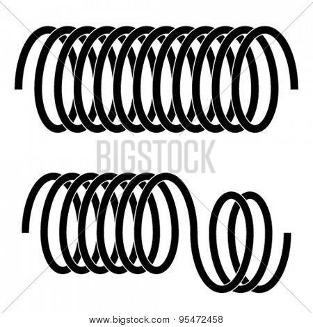 vector tension spring black symbols