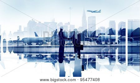 Business People Agreement Airport Hand Shake Global Business poster