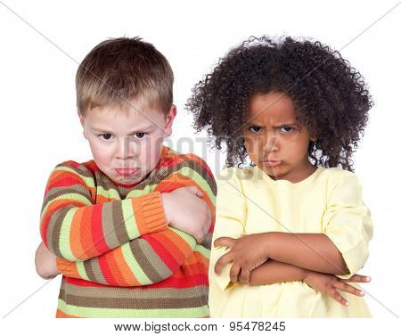 Angry children isolated on a white background