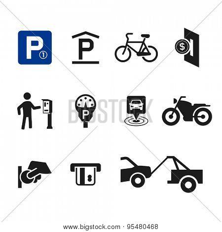 Vector parking icon set 04