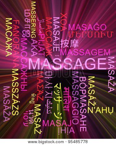 Background concept wordcloud multilanguage international many language illustration of massage glowing light