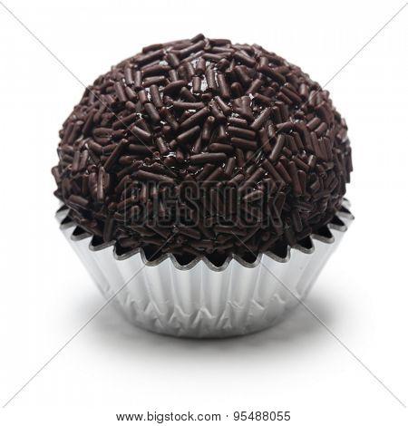 homemade brigadeiro, brazilian chocolate truffle sweet isolated on white background