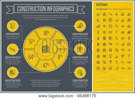Construction infographic template and elements. The template includes the following set of icons - hardhat, worker, wheelborrow with soil, cement carrier and more. Modern minimalistic flat thin line