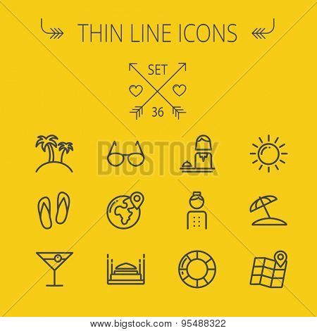 Travel thin line icon set for web and mobile. Set includes- sunglass, palm tree, wine, slippers, beach umbrella,map pointer icons. Modern minimalistic flat design. Vector dark grey icon on yellow