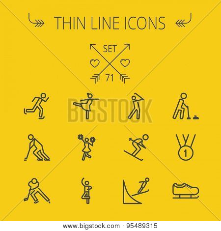 Sports thin line icon set for web and mobile. Set includes- medal, ballet, skating, running, golf icons. Modern minimalistic flat design. Vector dark grey icon on yellow background.