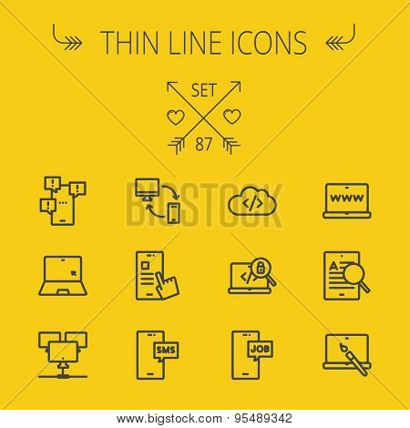 Technology thin line icon set for web and mobile. Set includes -laptop, monitor, smartphones, magnifying glass, sms, downloading, job seeker, camera. Modern minimalistic flat design. Vector dark grey