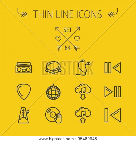 Music and entertainment thin line icon set for web and mobile. Set includes- metronome, guitar pick, upload and download, earphone, disco ball, cassette player, music button icons. Modern minimalistic