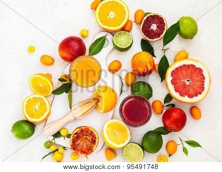 Preparation fresh citrus juices. Top view