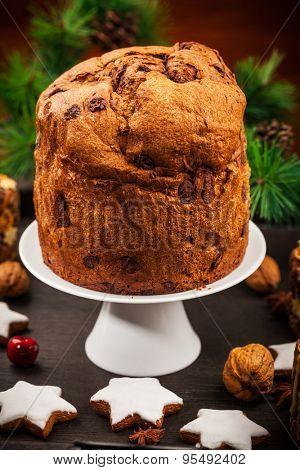 Chocolate panettone cake for Christmas - traditional Italian Christmas cake
