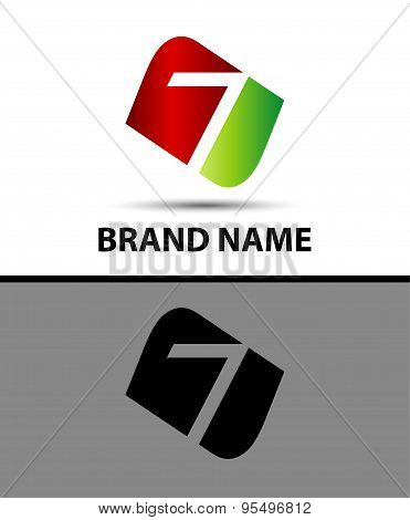 Vector 7 logotype design. Number seven logo poster