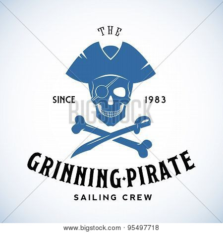 The Grinning Pirate Sailing Crew Abstract Vector Retro Logo Template or Vintage Label with Typograph