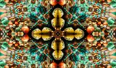 native american style abstract cross background made from beads poster