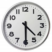 Clock showing half past four on white background poster
