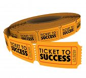 Ticket to Success words on a roll of raffle tickets to illustrate succeeding in achieving a goal, mission or objective poster