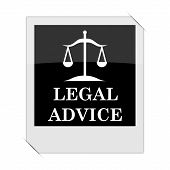Legal advice icon within a photo on white background poster