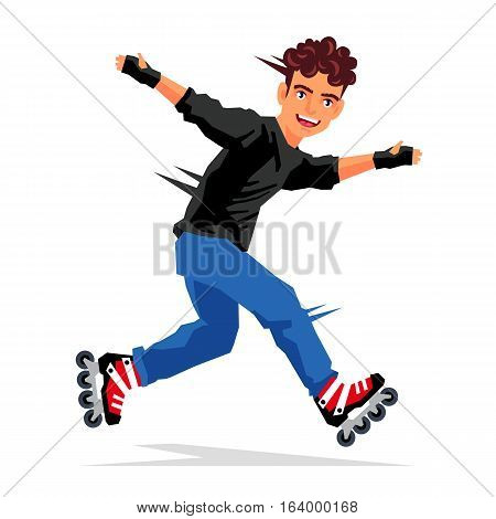 Cool handsome guy makes a trick on the rollers. Vector illustration on white background. Sports concept.