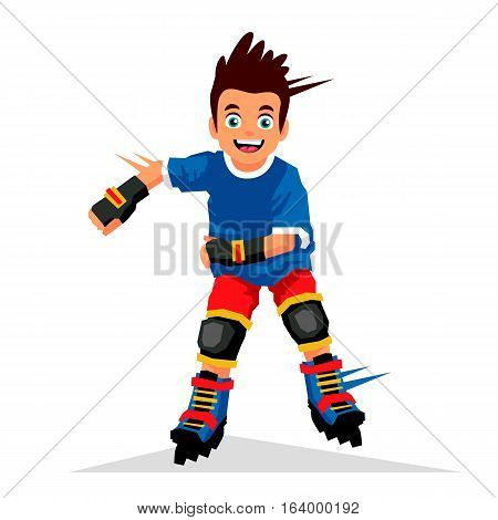Little boy riding on roller skates. Vector illustration on white background. Sports concept.