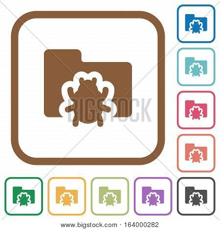 Bug folder simple icons in color rounded square frames on white background